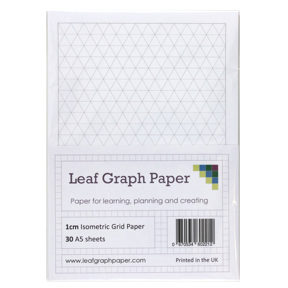 A5 Isometric Graph Paper 10mm 1cm - 30 Loose-Leaf Sheets