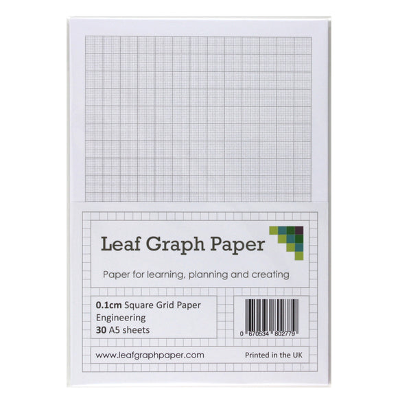 A5 Graph Paper 1mm 0.1cm Squared Engineering - 30 Loose-Leaf Sheets - Grey Grid