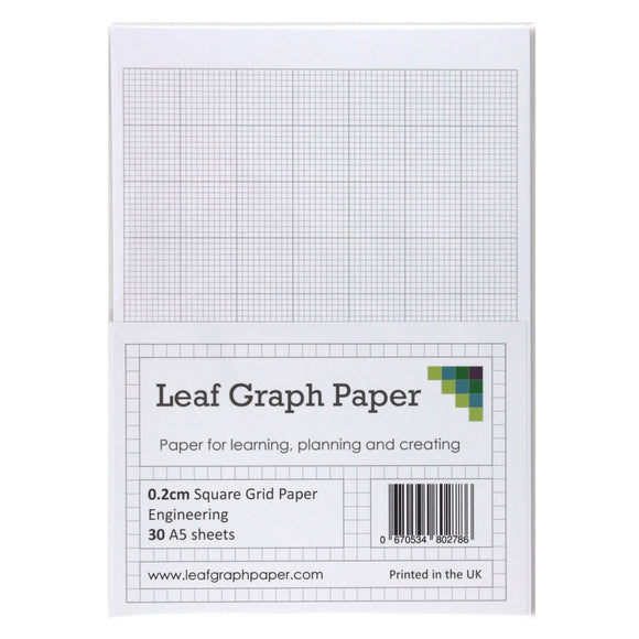 A5 Graph Paper 2mm 0.2cm Squared Engineering - 30 Loose-Leaf Sheets - Grey Grid