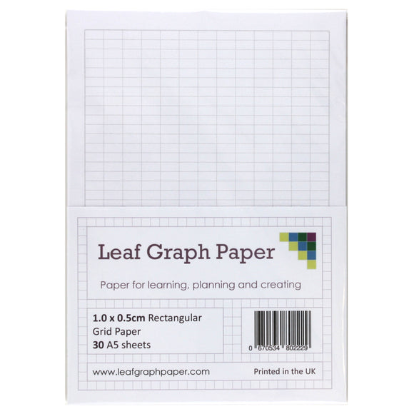 A5 Rectangle Graph Paper 10mm x 5mm - 30 Loose-Leaf Sheets