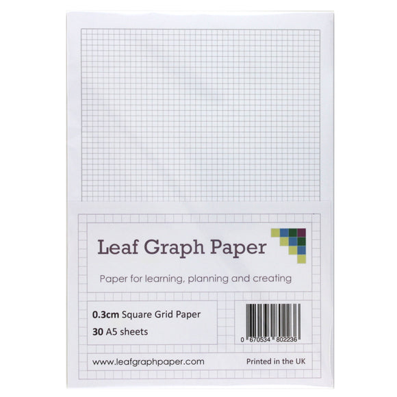 A5 Graph Paper 3mm 0.3cm Squared - 30 Loose-Leaf Sheets