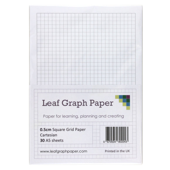 A5 Graph Paper 5mm 0.5cm Squared Cartesian - 30 Loose-Leaf Sheets