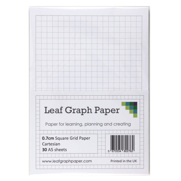 A5 Graph Paper 7mm 0.7cm Squared - 30 Loose-Leaf Sheets - Grey Grid