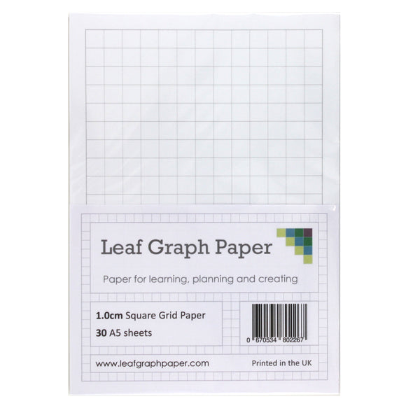 A5 Graph Paper 10mm 1cm Squared - 30 Loose-Leaf Sheets