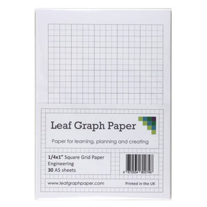 "A5 Graph Paper 1/4 inch 0.25"" Squared Imperial - 30 Loose-Leaf Sheets - Grey Grid"
