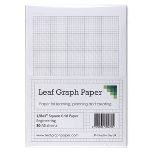"A5 Graph Paper 1/8 inch 0.125"" Squared Imperial - 30 Loose-Leaf Sheets - Grey Grid"