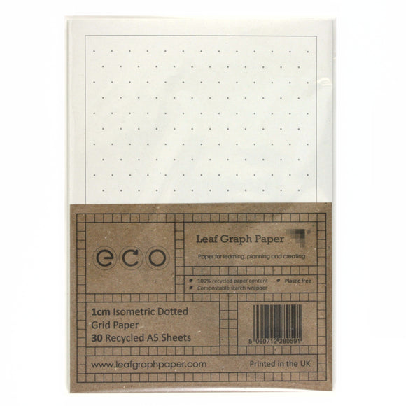 A5 Isometric Dotted Grid Paper 10mm 1.0cm, 100% Recycled, Plastic Free, 30 Sheets