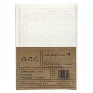 A5 Square Dotted Grid Paper 5mm 0.5cm, 100% Recycled, Plastic Free, 30 Sheets