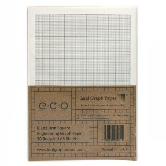 A5 Graph Paper 1mm 0.1cm Squared, 100% Recycled, Plastic Free, 30 Loose Sheets