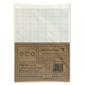 A5 Graph Paper 2mm 0.2cm Squared, 100% Recycled, Plastic Free, 30 Loose Sheets