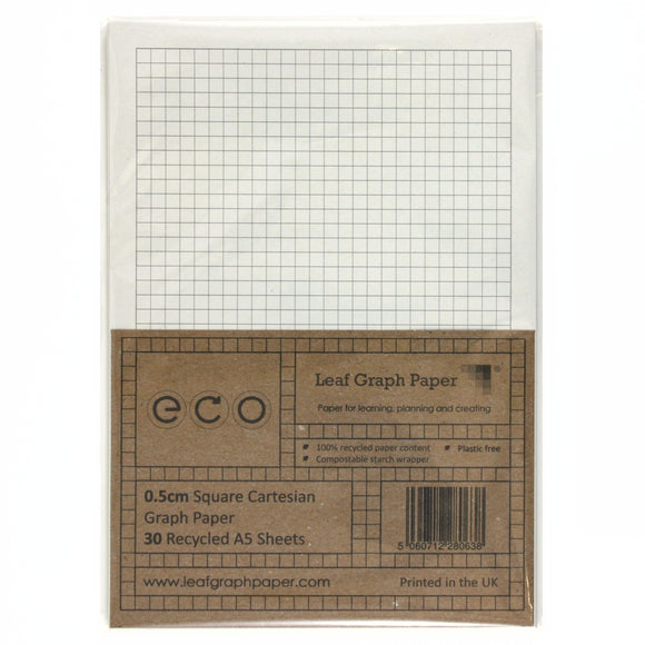 A5 Graph Paper 5mm 0.5cm Squared, 100% Recycled, Plastic Free, 30 Loose Sheets