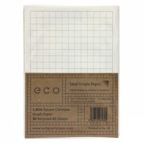 A5 Graph Paper 10mm 1.0cm Squared, 100% Recycled, Plastic Free, 30 Loose Sheets