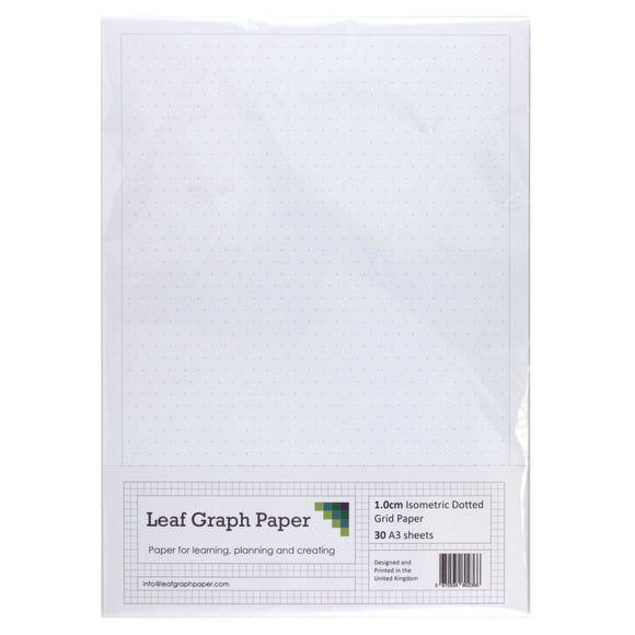 A3 Isometric Dotted Grid Graph Paper 10mm 1cm - 30 Loose-Leaf Sheets