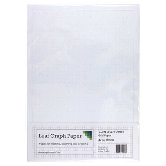 A3 Dotted Grid Paper 10mm 1cm Squared - 30 Loose-Leaf Sheets