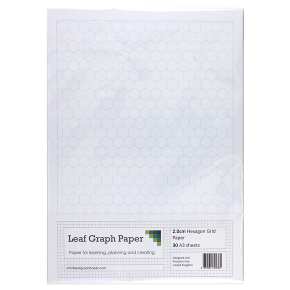 A3 Hexagon Graph Paper 20mm 2cm - 30 Loose-Leaf Sheets