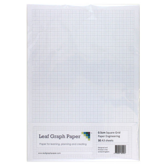 A3 Graph Paper 5mm 0.5cm Squared Engineering - 30 Loose-Leaf Sheets