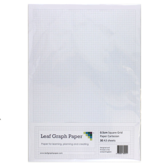 A3 Graph Paper 5mm 0.5cm Squared Cartesian - 30 Loose-Leaf Sheets
