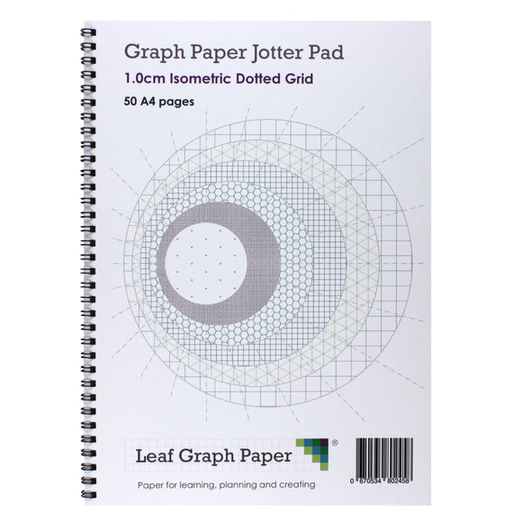 A4 Isometric Dotted Grid 10mm 1cm Graph Jotter Pad - 50 Portrait Pages - Leaf Graph Paper