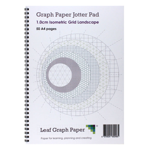 A4 Isometric Graph Paper 10mm 1cm Jotter Pad - 50 Landscape Pages - Leaf Graph Paper