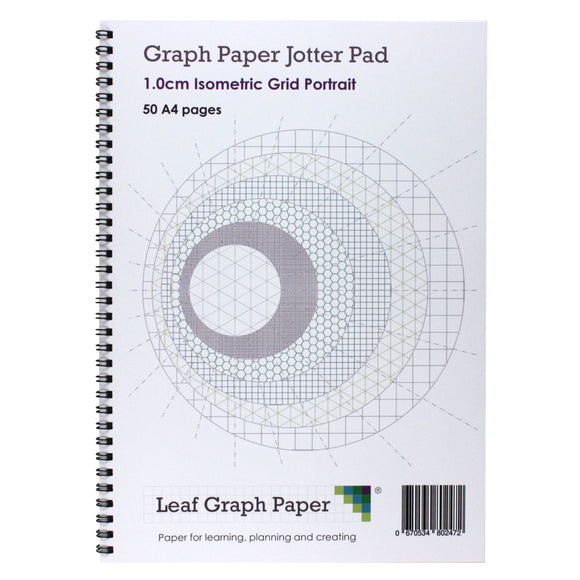 A4 Isometric Graph Paper 10mm 1cm, Jotter Pad 50 Portrait Pages - Leaf Graph Paper
