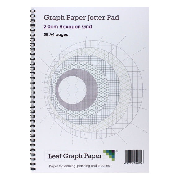 A4 Hexagon Graph Paper 20mm 2cm Jotter Pad - 50 Pages