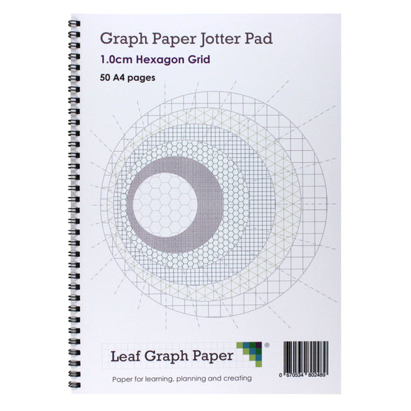 A4 Hexagon Graph Paper 10mm 1cm Jotter Pad - 50 Pages - Leaf Graph Paper