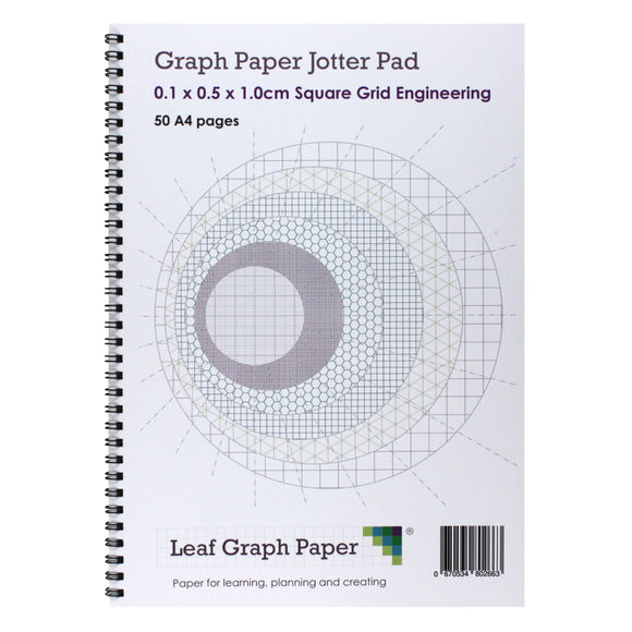 A4 Graph Paper 1mm 0.1cm Squared Jotter Pad - 50 Pages Engineering Style