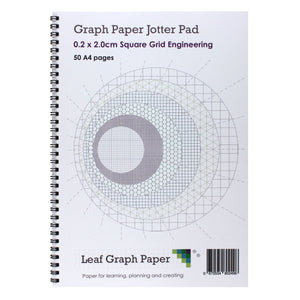 A4 Graph Paper 2mm 0.2cm Squared Jotter Pad - 50 Pages Engineering Style