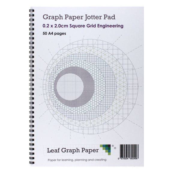 A4 Graph Paper 2mm 0.2cm Squared Jotter Pad - 50 Pages Engineering Style - Leaf Graph Paper