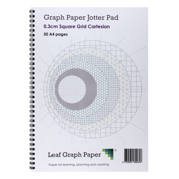 A4 Graph Paper 3mm 0.3cm Squared Jotter Pad, 50 Pages Cartesian Style
