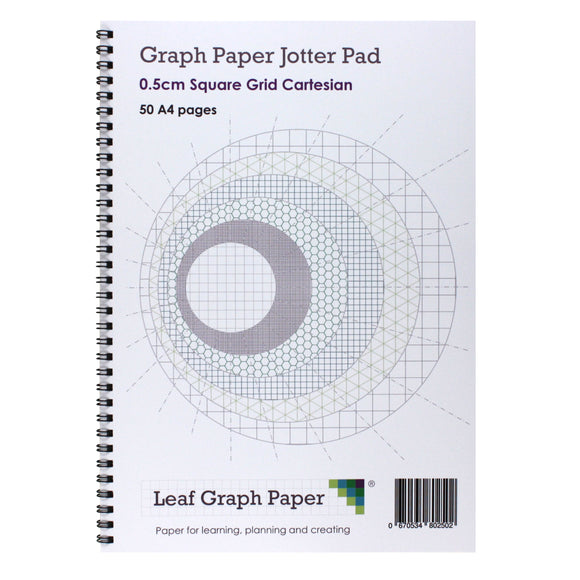 A4 Graph Paper 5mm 0.5cm Squared Jotter Pad, 50 Pages Cartesian Style - Leaf Graph Paper