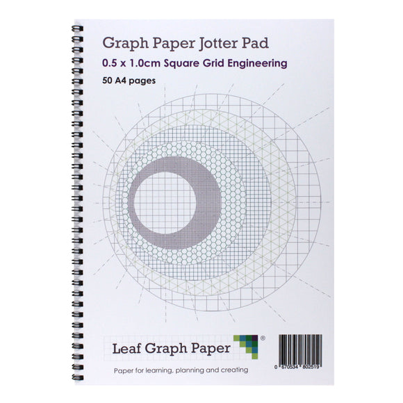 A4 Graph Paper 5mm 0.5cm Squared Jotter Pad - 50 Pages Engineering Style