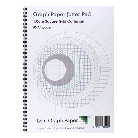 A4 Graph Paper 10mm 1cm Squared - Jotter Pad 50 Pages - Leaf Graph Paper