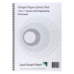 "A4 Graph Paper 1/4 Inch 0.25"" Squared Jotter Pad - 50 Pages Engineering Style"