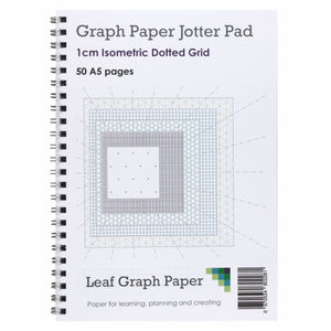 A5 Isometric Dotted Grid 10mm 1cm Graph Jotter Pad - 50 Portrait Pages