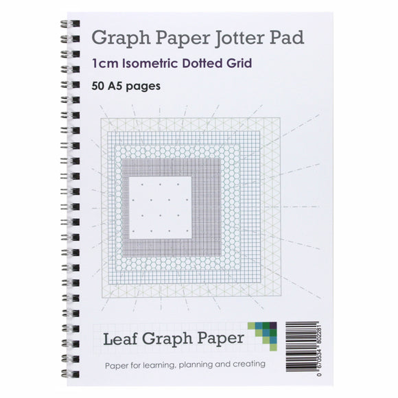 A5 Isometric Dotted Grid 10mm 1cm Graph Jotter Pad - 50 Landscape Pages