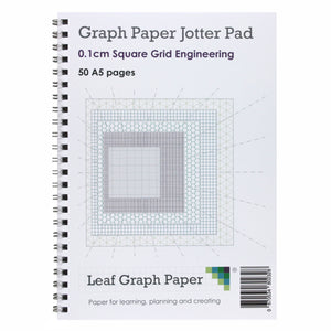 A5 Graph Paper 1mm 0.1cm Squared - Jotter Pad 50 Pages - Engineering Style