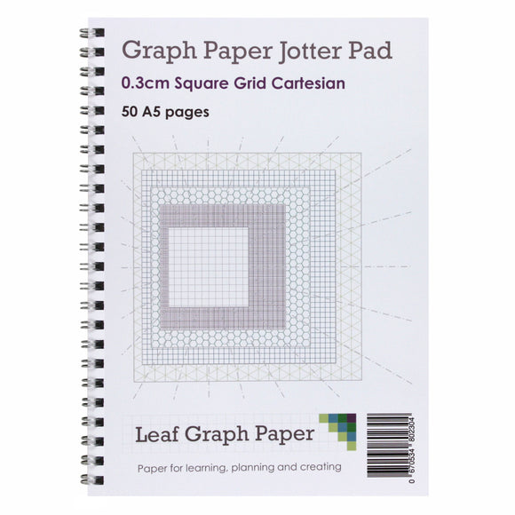 A5 Graph Paper 3mm 0.3cm Squared - Jotter Pad 50 Pages