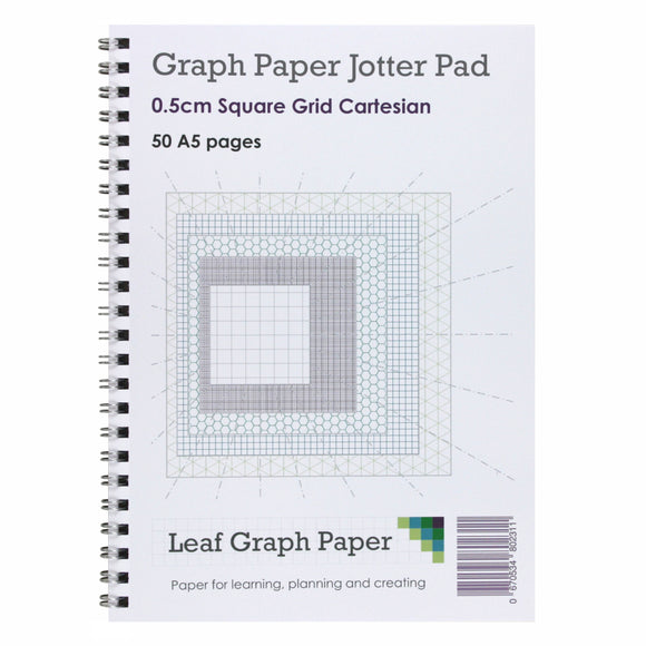 A5 Graph Paper 5mm 0.5cm Squared - Jotter Pad 50 Pages - Cartesian Style