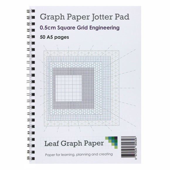 A5 Graph Paper 5mm 0.5cm Squared - Jotter Pad 50 Pages - Engineering Style