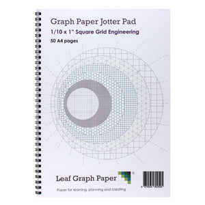 "A4 Graph Paper 1/10 Inch 0.1"" Squared Jotter Pad - 50 Pages Engineering Style"