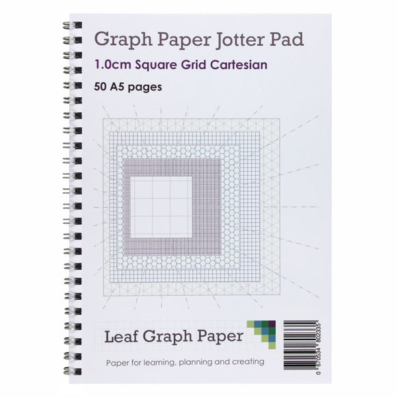 A5 Graph Paper 10mm 1cm Squared - Jotter Pad 50 Pages