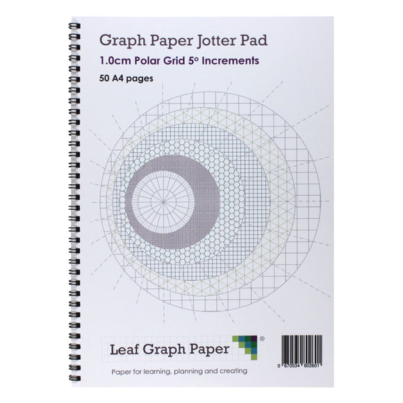 A4 Polar Graph Paper 5 Degree Increments, Jotter Pad 50 Portrait Pages