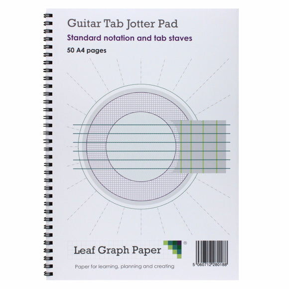 A4 Guitar Tab and Standard Notation Sheet Music, 5x Staves, Jotter Pad 50 Pages