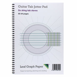 A4 Guitar Tab Blank Sheet Music, 10x Six String Tab Staves, Jotter Pad 50 Pages