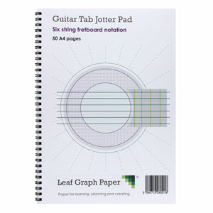 A4 Guitar Fretboard Blank Sheet Music, Six String Fretboard, Jotter Pad 50 Pages