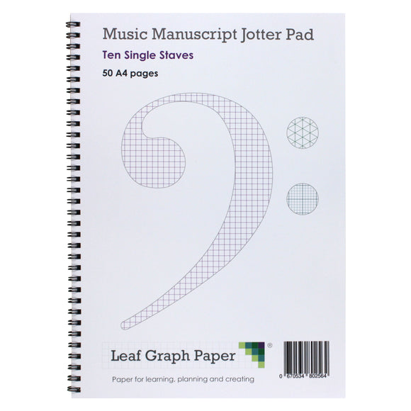 A4 Manuscript Music Paper Single Stave Staff - Jotter Pad 50 Pages