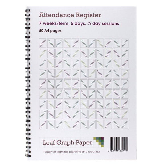 Attendance Register Book - 50 A4 Pages - Board Backed - Teaching Resources - Leaf Graph Paper