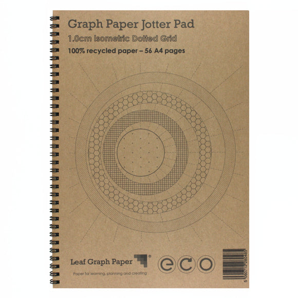 A4 Isometric Dotted Grid Paper 10mm 1cm, 100% Recycled Jotter Pad, 56 Pages