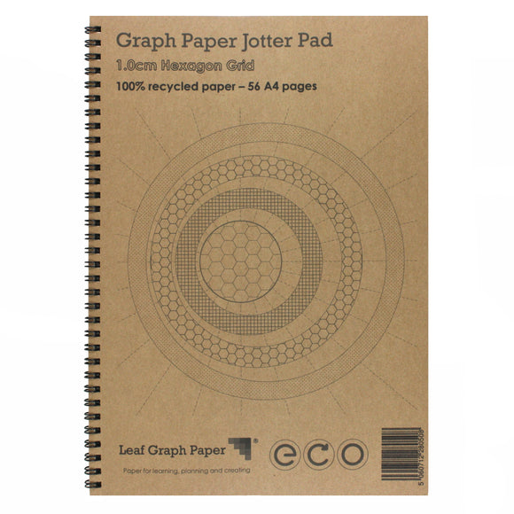 A4 Hexagon Graph Paper 10mm 1cm, 100% Recycled Jotter Pad, 56 Pages